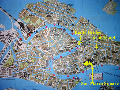 Overview Map Of Venice Italy Noting The Locations Of Some Of Our Apartment Rentals