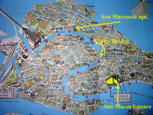 Overview Map Of Venice Italy Noting The Locations Of Some
